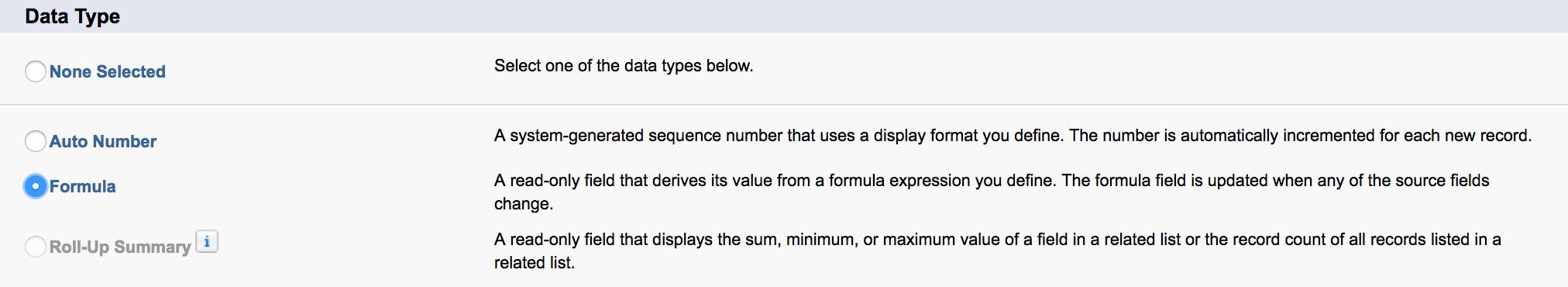 formula data type